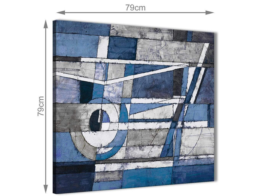 Large Indigo Blue White Painting Abstract Dining Room Canvas Pictures Accessories 1s404l - 79cm Square Print