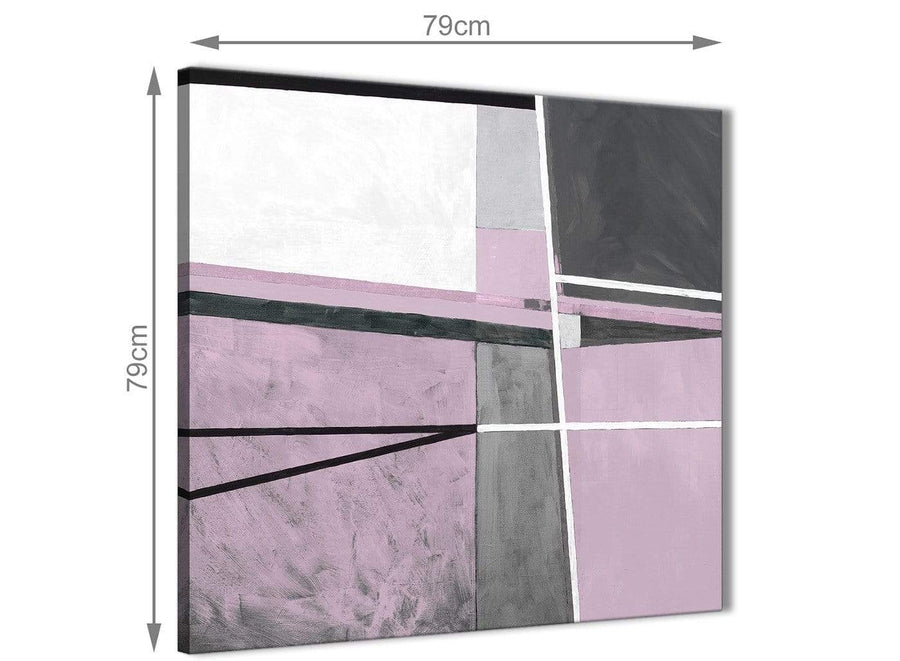 Large Lilac Grey Painting Abstract Bedroom Canvas Wall Art Decorations 1s395l - 79cm Square Print