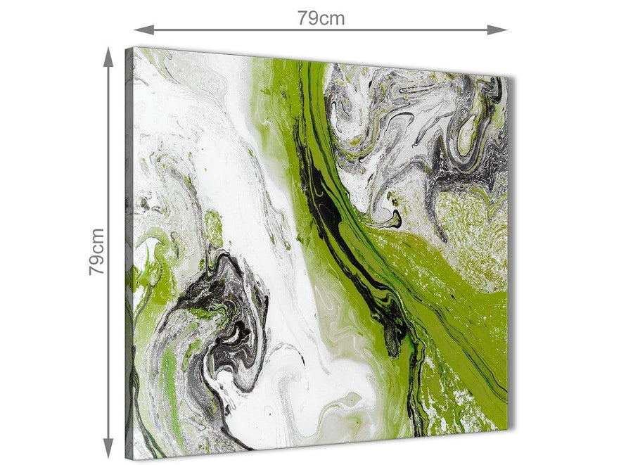 Large Lime Green and Grey Swirl Abstract Office Canvas Wall Art Decorations 1s464l - 79cm Square Print