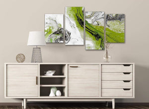 Large Lime Green and Grey Swirl Abstract Bedroom Canvas Wall Art Decor - 4464 - 130cm Set of Prints