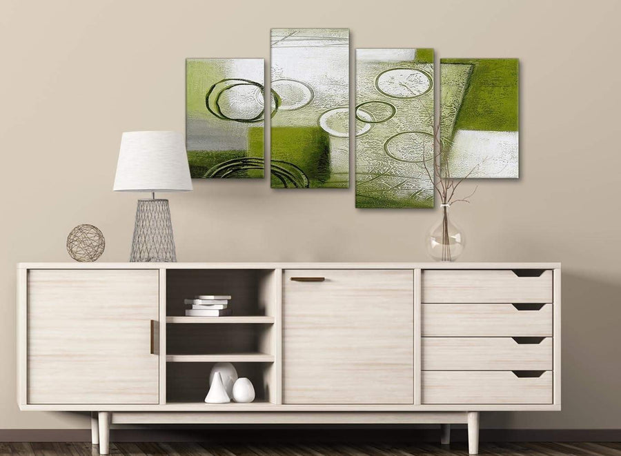 Large Lime Green Painting Abstract Bedroom Canvas Pictures Decor - 4434 - 130cm Set of Prints