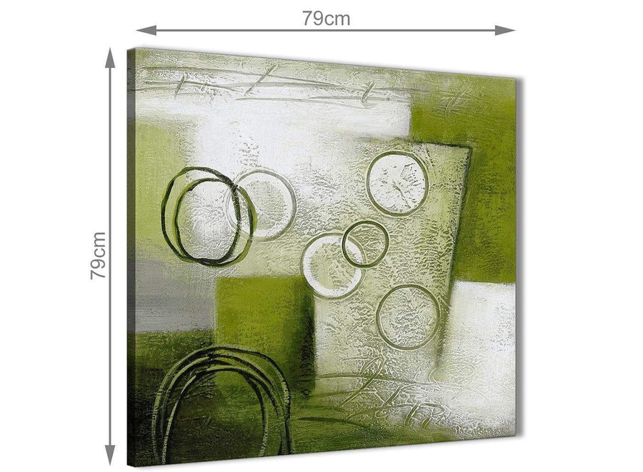 Large Lime Green Painting Abstract Bedroom Canvas Wall Art Accessories 1s434l - 79cm Square Print