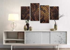 Large Mustard Gold Snakeskin Animal Print Abstract Living Room Canvas Wall Art Decor - 4474 - 130cm Set of Prints