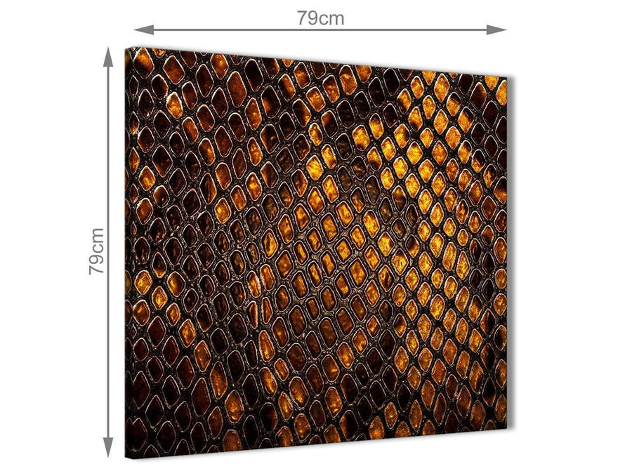 Large Mustard Gold Snakeskin Animal Print Abstract Bedroom Canvas Pictures Decor 1s474l - 79cm Square Print