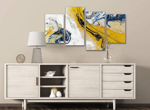 Large Mustard Yellow and Blue Swirl Abstract Bedroom Canvas Pictures Decor - 4469 - 130cm Set of Prints