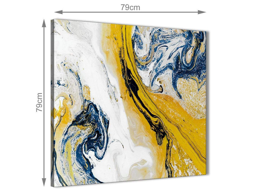 Large Mustard Yellow and Blue Swirl Abstract Hallway Canvas Wall Art Decor 1s469l - 79cm Square Print