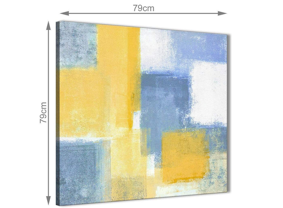 Large Mustard Yellow Blue Abstract Office Canvas Pictures Decor 1s371l - 79cm Square Print