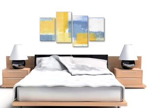 Large Mustard Yellow Blue Abstract Living Room Canvas Pictures Decor - 4371 - 130cm Set of Prints