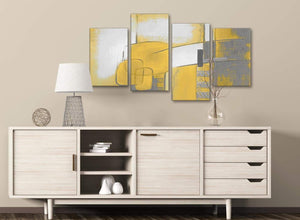 Large Mustard Yellow Grey Painting Abstract Bedroom Canvas Wall Art Decor - 4419 - 130cm Set of Prints