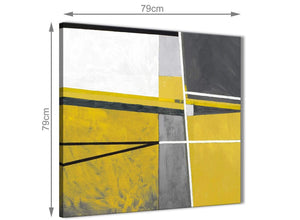 Large Mustard Yellow Grey Painting Abstract Hallway Canvas Pictures Decorations 1s388l - 79cm Square Print