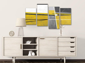 Large Mustard Yellow Grey Painting Abstract Living Room Canvas Wall Art Decor - 4388 - 130cm Set of Prints