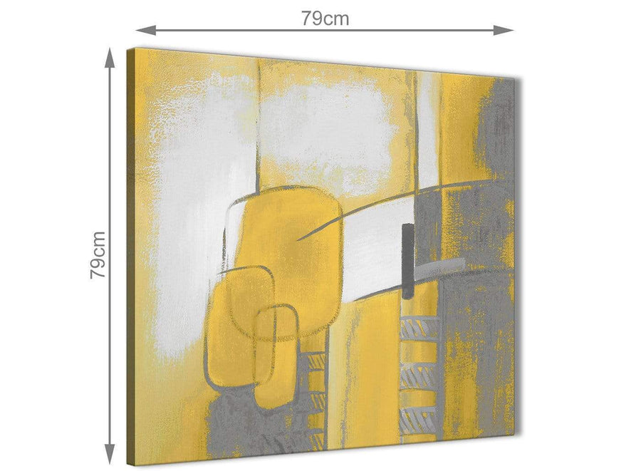 Large Mustard Yellow Grey Painting Abstract Bedroom Canvas Pictures Decorations 1s419l - 79cm Square Print