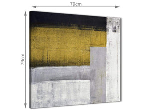 Large Mustard Yellow Grey Painting Abstract Bedroom Canvas Pictures Decor 1s425l - 79cm Square Print