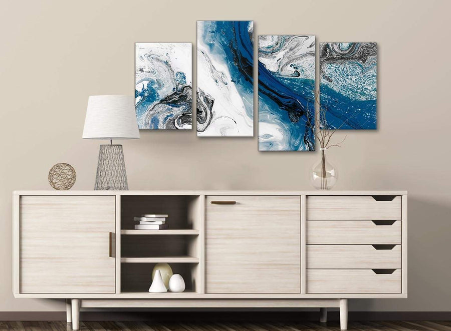 Large Blue and Grey Swirl Abstract Bedroom Canvas Pictures Decor - 4465 - 130cm Set of Prints