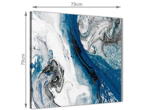 Large Blue and Grey Swirl Abstract Office Canvas Wall Art Decor 1s465l - 79cm Square Print