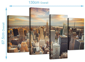 Large New York Skyline Canvas Pictures 130cm x 68cm 4202