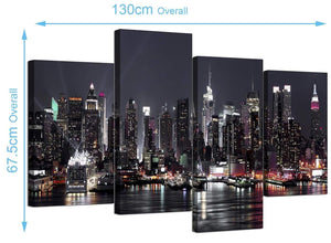 Cheap New York Skyline Canvas Pictures 130cm x 68cm 4187