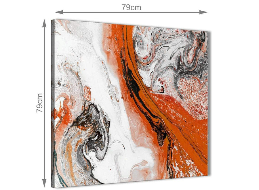 Large Orange and Grey Swirl Abstract Bedroom Canvas Pictures Decor 1s461l - 79cm Square Print