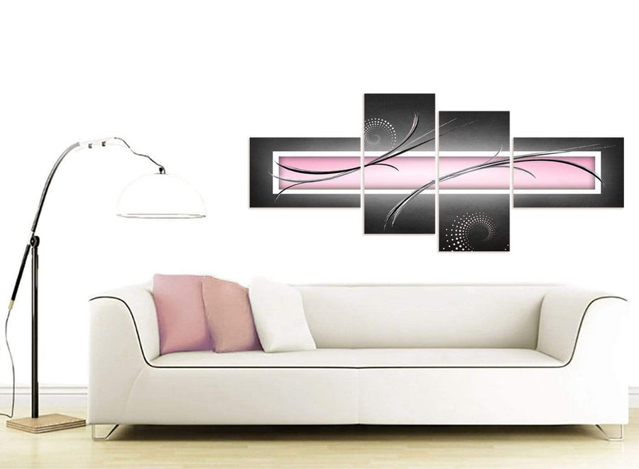 large pastel pink grey white modern pale pink abstract canvas split 4 set 4296 for your bedroom