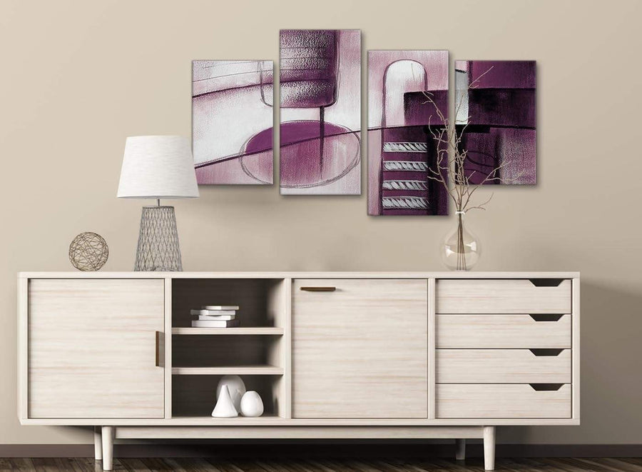 Large Plum Grey Painting Abstract Bedroom Canvas Pictures Decor - 4420 - 130cm Set of Prints