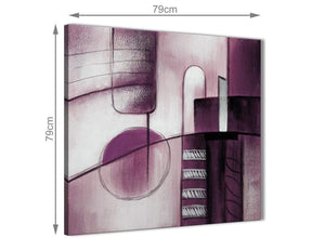 Large Plum Grey Painting Abstract Office Canvas Pictures Accessories 1s420l - 79cm Square Print