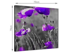 Large Purple Poppy Grey Black White Flower Floral Abstract Office Canvas Wall Art Decorations 1s136l - 79cm Square Print