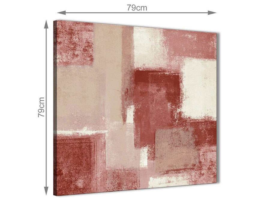 Large Red and Cream Abstract Bedroom Canvas Pictures Decorations 1s370l - 79cm Square Print