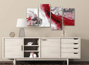 Large Red and Grey Swirl Abstract Bedroom Canvas Pictures Decor - 4467 - 130cm Set of Prints