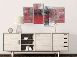 Large Red Black White Painting Abstract Living Room Canvas Pictures Decor - 4397 - 130cm Set of Prints