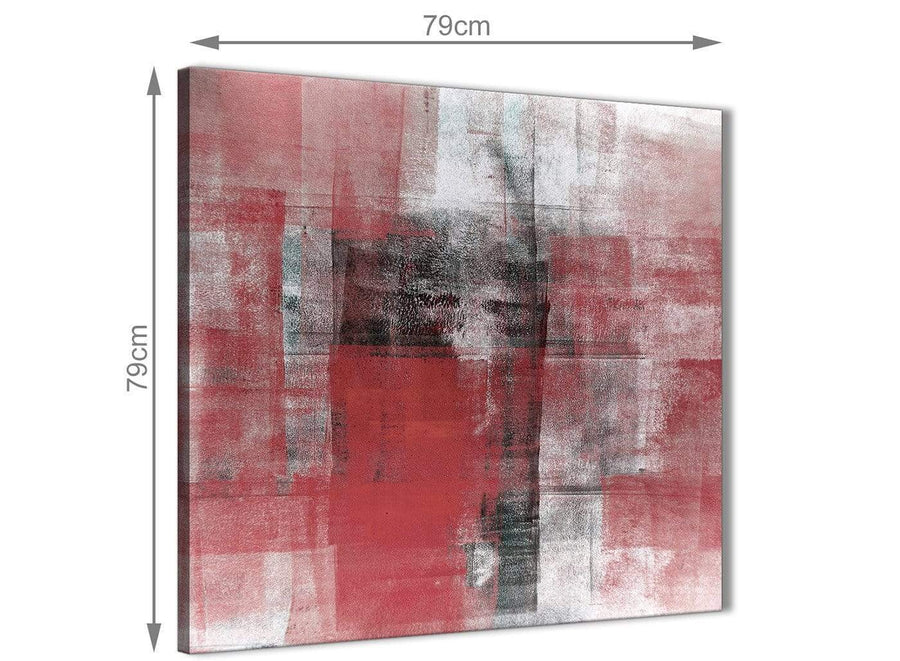 Large Red Black White Painting Abstract Bedroom Canvas Pictures Accessories 1s397l - 79cm Square Print