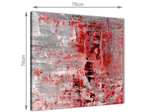 Large Red Grey Painting Abstract Hallway Canvas Wall Art Accessories 1s414l - 79cm Square Print