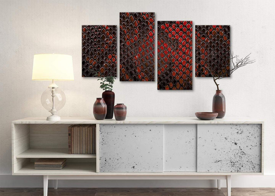 Large Red Snakeskin Animal Print Abstract Living Room Canvas Pictures Decor - 4476 - 130cm Set of Prints