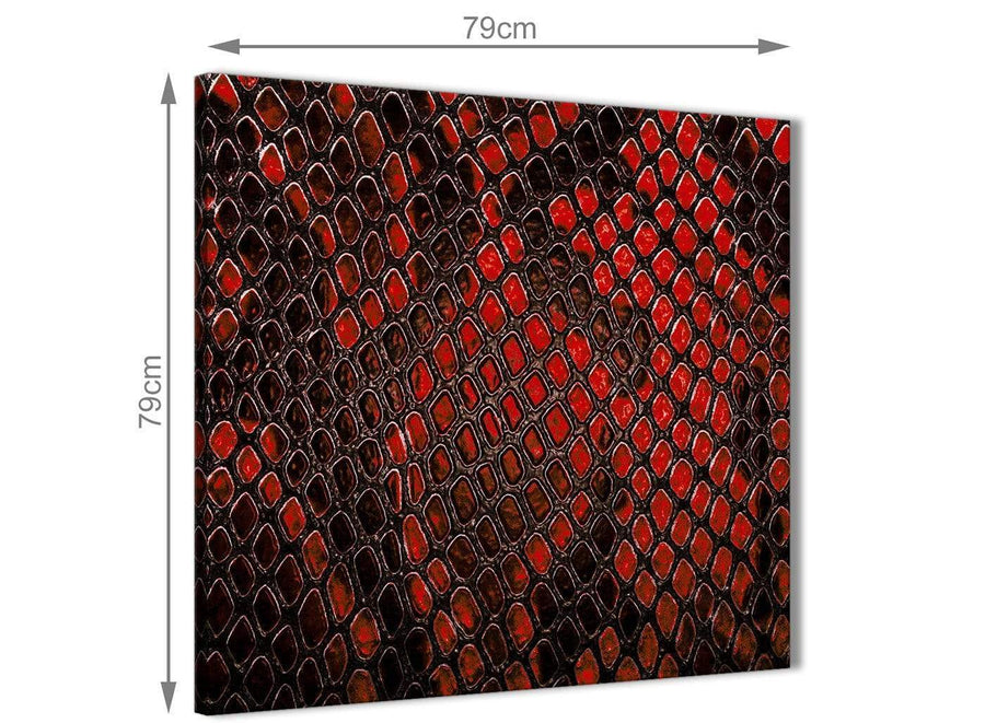 Large Red Snakeskin Animal Print Abstract Living Room Canvas Wall Art Decor 1s476l - 79cm Square Print