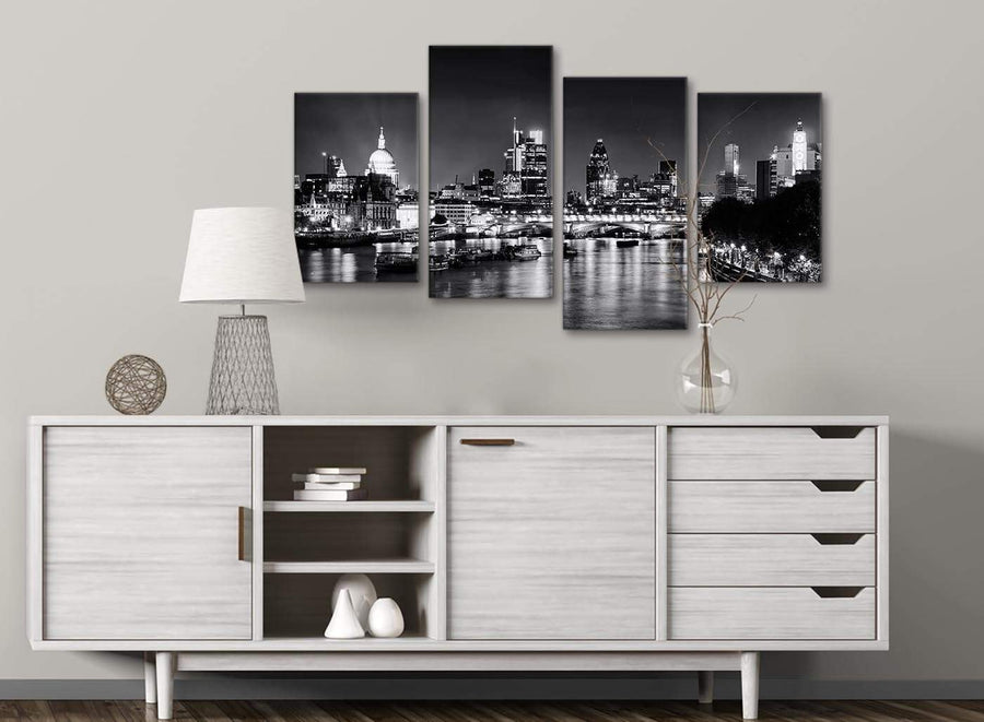 Large River Thames Skyline of London Canvas Art Prints - Landscape - 4430 Black White Grey - 130cm Set of Pictures