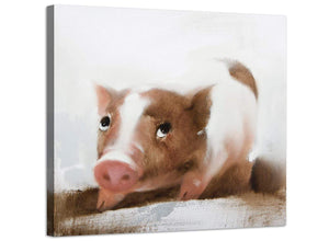 Large Childrens Kids Bedroom Nursery - Pigs Modern Canvas Art - 48cm - 1s249m