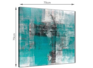 Large Teal Black White Painting Abstract Dining Room Canvas Pictures Decorations 1s399l - 79cm Square Print