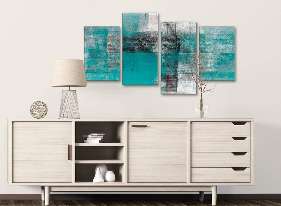 Large Teal Black White Painting Abstract Living Room Canvas Pictures Decor - 4399 - 130cm Set of Prints