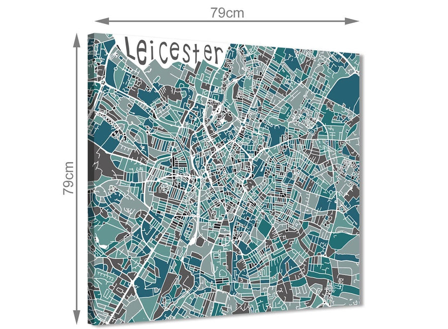 Large Teal Blue Street Map of Leicester - Hallway Canvas Wall Art Decor 1s453l - 79cm Square Print