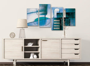 Large Teal Cream Painting Abstract Bedroom Canvas Pictures Decor - 4417 - 130cm Set of Prints