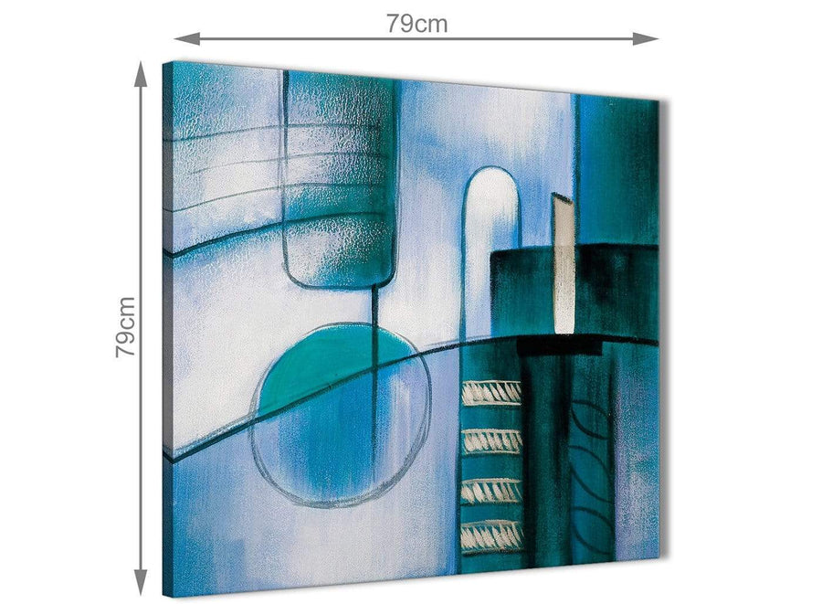 Large Teal Cream Painting Abstract Bedroom Canvas Wall Art Decor 1s417l - 79cm Square Print