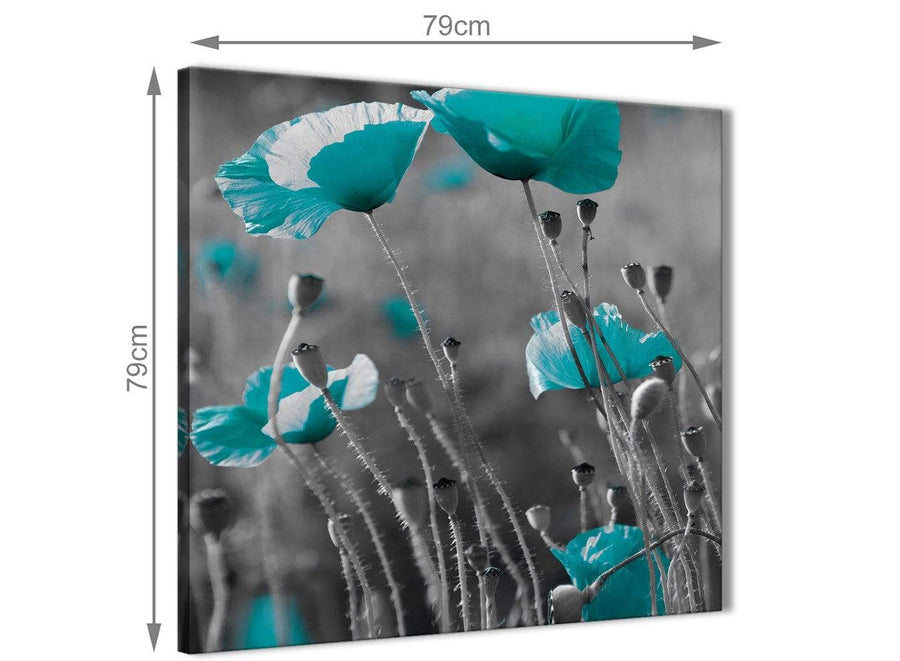 Large Teal Poppy Grey Poppies Flower Floral Abstract Bedroom Canvas Wall Art Accessories 1s139l - 79cm Square Print