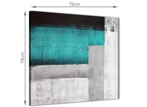 Large Teal Turquoise Grey Painting Abstract Hallway Canvas Pictures Decorations 1s429l - 79cm Square Print
