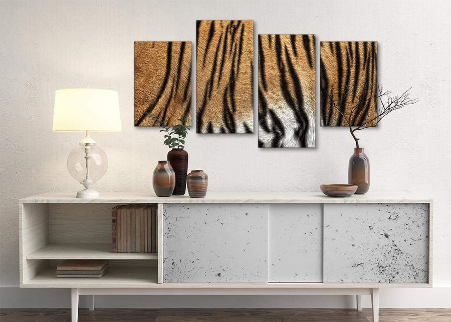 Large Tiger Animal Print Canvas Wall Art - 4472 - 130cm Set of Pictures
