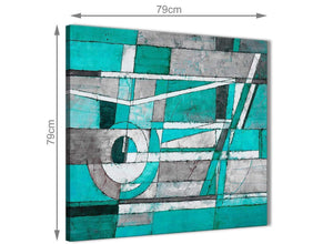 Large Turquoise Grey Painting Abstract Hallway Canvas Wall Art Accessories 1s403l - 79cm Square Print
