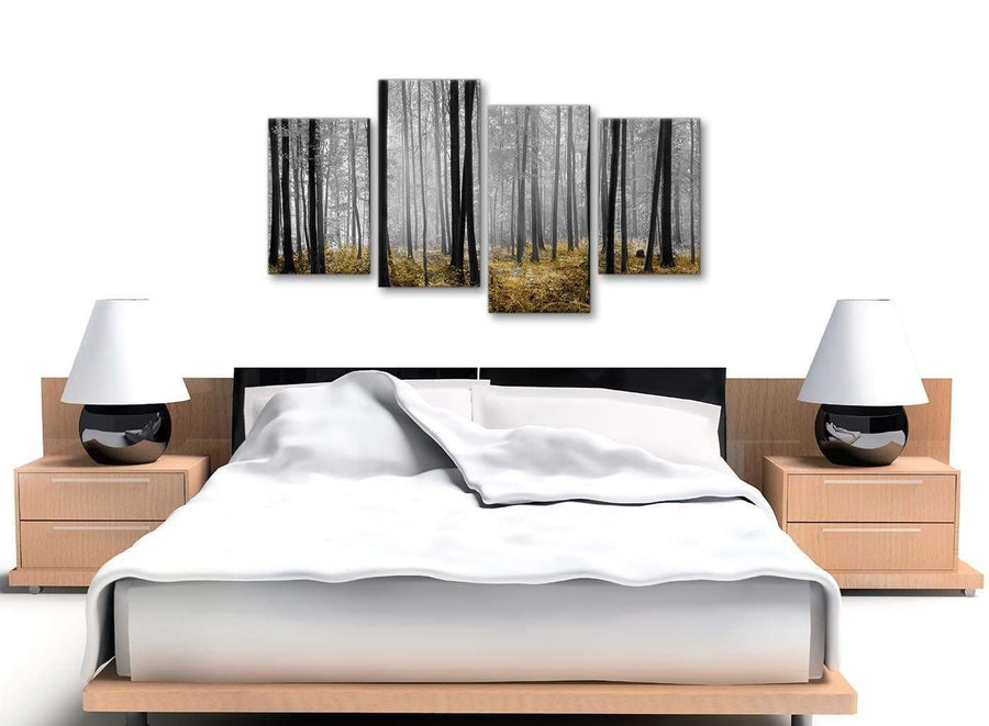 Large Yellow and Grey Forest Woodland Trees Bedroom Canvas Pictures Decor - 4384 - 130cm Set of Prints