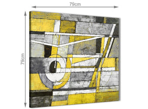 Large Yellow Grey Painting Abstract Bedroom Canvas Pictures Accessories 1s400l - 79cm Square Print