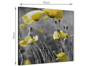 Large Yellow Grey Poppy Flower - Poppies Floral Canvas Abstract Hallway Canvas Pictures Decorations 1s258l - 79cm Square Print