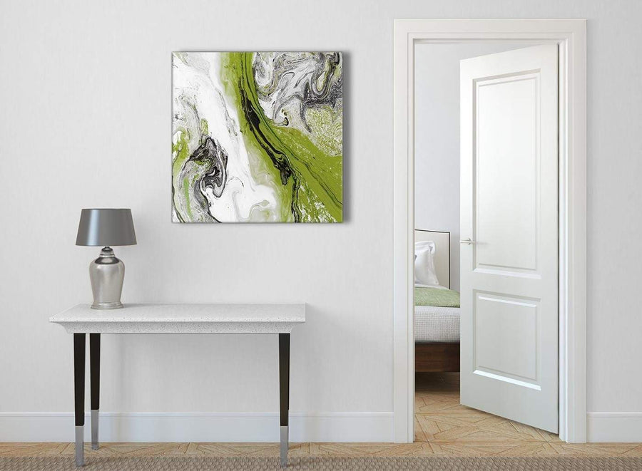 Lime Green and Grey Swirl Abstract Office Canvas Wall Art Decorations 1s464l - 79cm Square Print