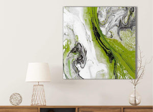 Lime Green and Grey Swirl Kitchen Canvas Wall Art Accessories - Abstract 1s464s - 49cm Square Print