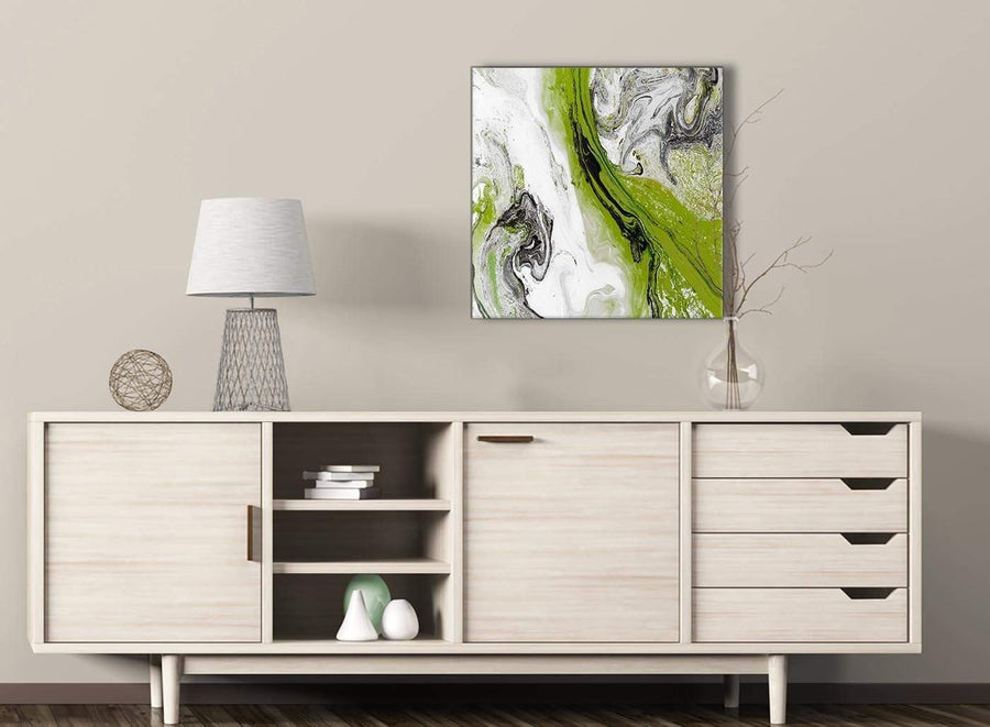 Lime Green and Grey Swirl Living Room Canvas Wall Art Decorations - Abstract 1s464m - 64cm Square Print